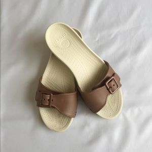 crocs shoes womens brown slides size 8 poshmark